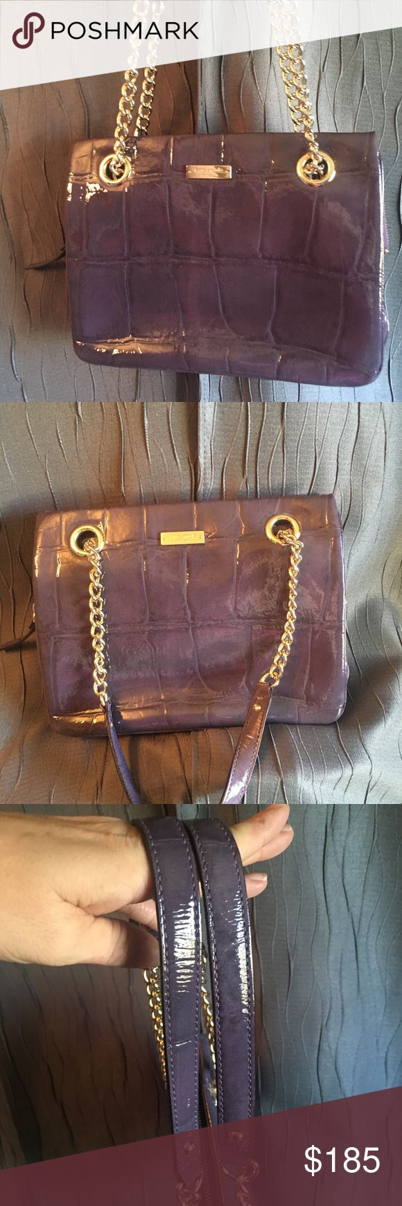 """Kate Spade """"Knightsbridge Helena"""" Handbag! GORGEOUS, HIGH END HANDBAG CARRIED FOR A SEASON, LOVELY! Kate Spade Knightsbridge Helena Handbag PATENT PURPLE CROC EMBOSSED MSRP: $395 Crocodile embossed patent cowhide with matching trim over the shoulder with open top, 14-karat light gold plated hardware middle zipper divider, kate spade new york light gold staple signature in front. Interior: cream/gold woven dot pattern, measures 11"""" x 8 1/2, strap drop is 9"""". Many interior pockets & plenty of…"""
