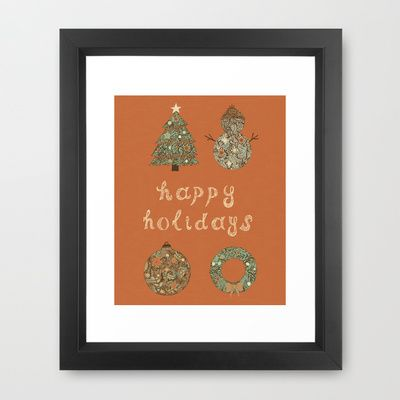 HAPPY HOLIDAYS Framed Art Print by Nora - $33.00