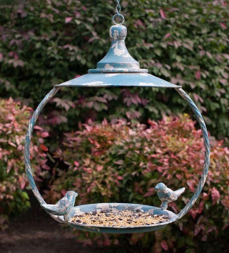Blue Metal Bird Feeder