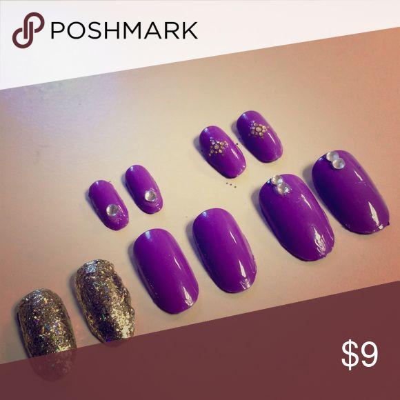 🆕Purple gold glitter jewel nail set Oval acrylic nail set 10 pieces made by me handmade Makeup