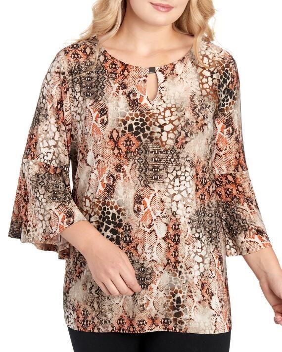 Kasper Woman Women's Plus Size Snake Print Bell Sleeve Top | 1X |  polyester 3