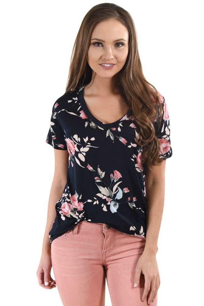 b8f0bfab6 Dark Floral V Neck Short Sleeve T-shirt in 2019