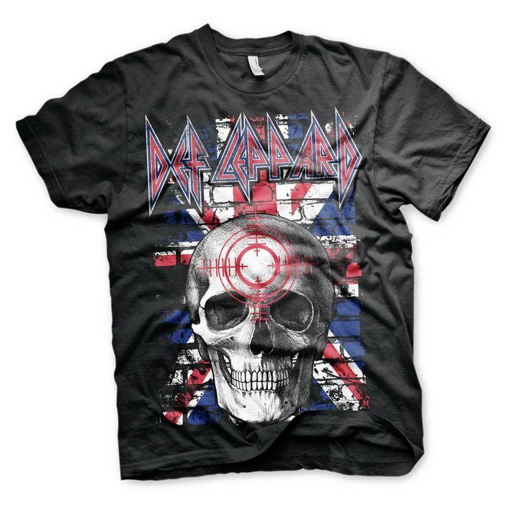 Hybris Def Leppard - Union Jack Skull unisex T-shirt zwart - Band merc