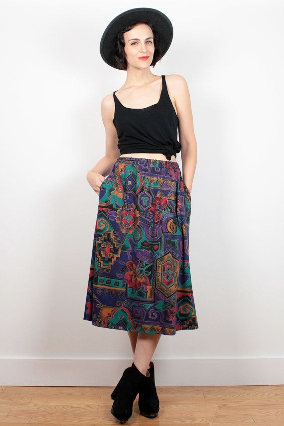 Vintage 80s Skirt Boho Tribal Print Midi Skirt Gold Purple Red Teal Abstract Print 80s Skirt Knee Length Mod Hipster Skirt M Medium L Large by ShopTwitchVintage #1980s #80s #skirt #midi #tribal #abstract #boho #etsy #vintage