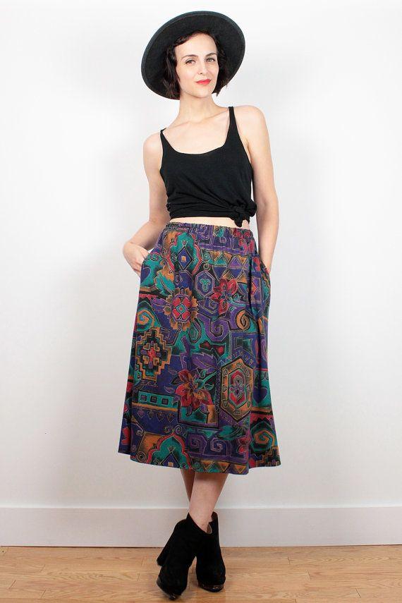 Vintage 80s Skirt Boho Tribal Print Midi Skirt Gold Purple Red Teal Abstract Print 80s Skirt Knee Length Mod Hipster Skirt M Medium L Large #vintage #etsy #1980s #80s #midi #paisley #skirt