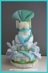"""Cadeau original et décoratif à offrir pour une naissance ou un baptême de jumeaux garçons ou encore une baby shower. Modèle """"baby twins"""" :  -30 couches Pommette taille 3 -2 - 4290753"""