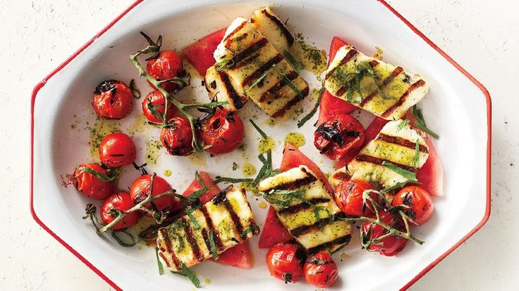 Grilled Halloumi with Watermelon and Basil-Mint Oil Recipe | Bon Appetit
