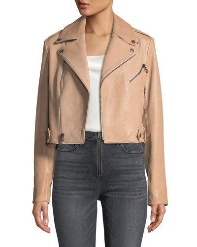 92ee9e9518bb Alice + Olivia Cody Crop Lamb Leather Moto Jacket | Products | Moto ...
