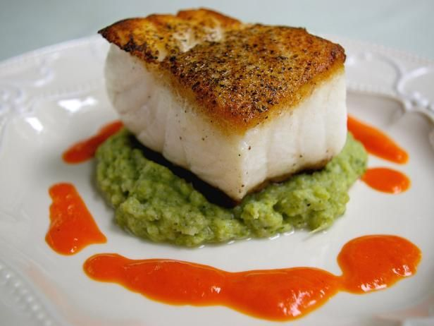 Get Pan-Fried Sea Bass with Roasted Red Pepper Sauce and Broccoli Puree Recipe from Cooking Channel