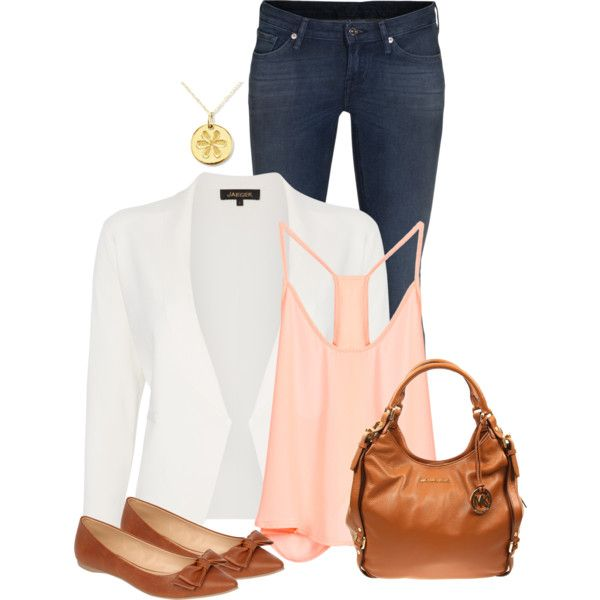 A fashion look from March 2014 featuring Lush Clothing tops, Jaeger blazers and 7 For All Mankind jeans. Browse and shop related looks.