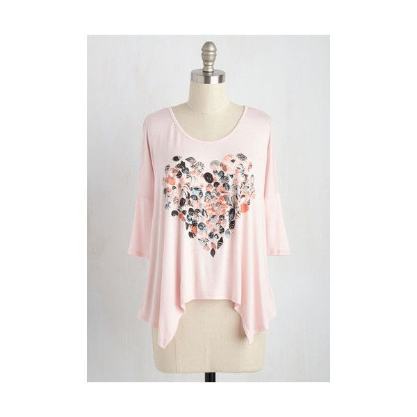 Nautical Short Length 3 The Tell-Shell Heart Top ($30) ❤ liked on Polyvore featuring tops, apparel, graphic tee, pink, dolman sleeve tops, pink top, handkerchief hem tops, shell tops and sea shell top