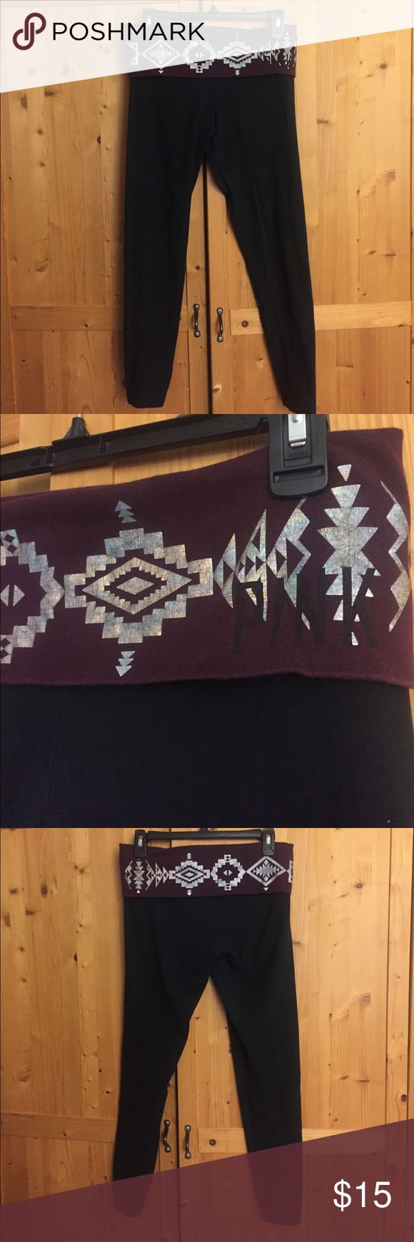 Victoria's Secret Yoga Leggings Black leggings with a maroon fold down band and holographic Aztec print PINK Victoria's Secret Pants Leggings
