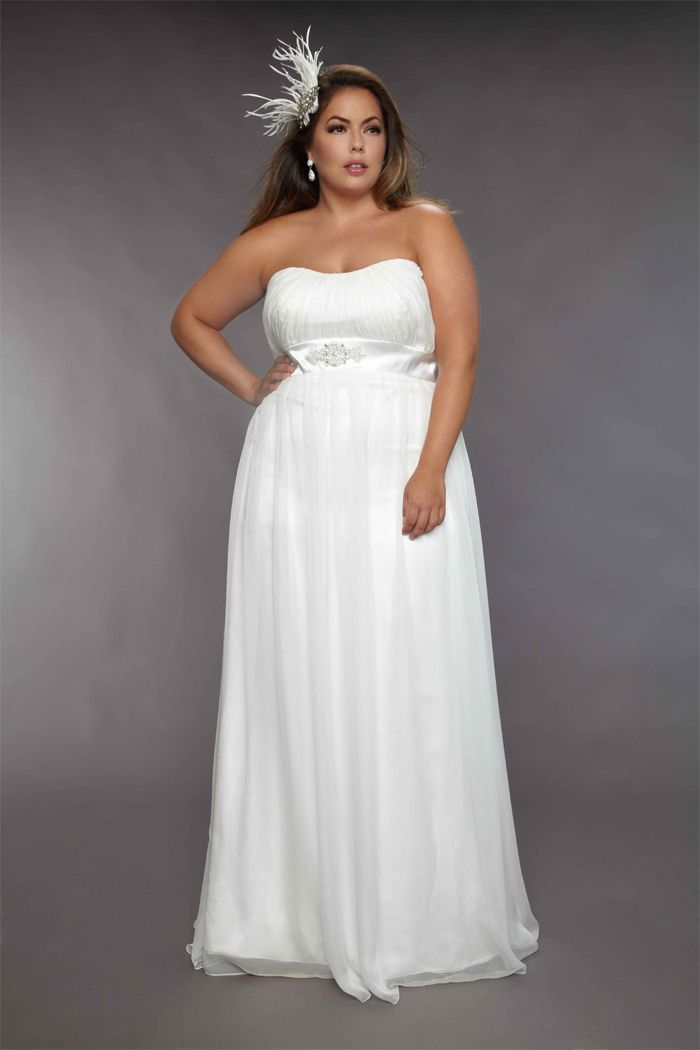 Pretty Empire Strapless Floor Length Court Sash Plus Size Wedding Dresses