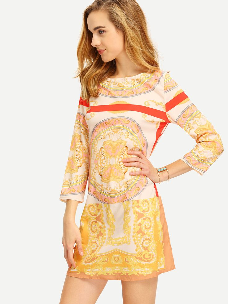 Shop Apricot Tribal Print Shift Dress online. SheIn offers Apricot Tribal Print Shift Dress & more to fit your fashionable needs.
