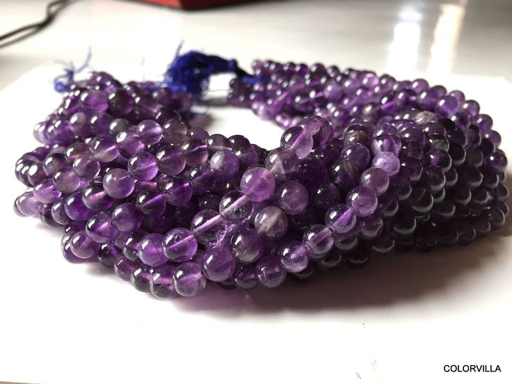 Summer Sale 5.50 mm-6 mm Natural Amethyst Beads,February Birthstone,Round Smooth Polished Gemstone Beads,Purple Beads 14 inches Full Strand by colorvilla on Etsy