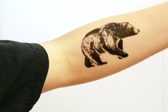 Temporary Tattoo >> One black ink tattoo design of the side of a bear. A…