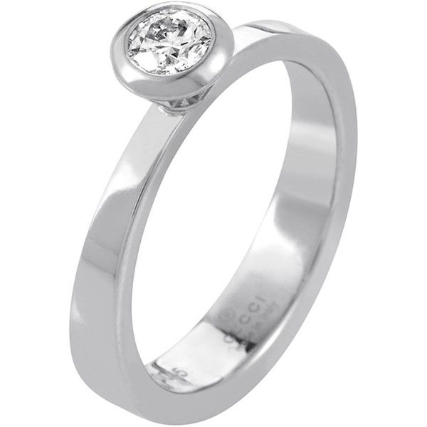 Pre-owned Gucci 18K White Gold Diamond Solitaire Engagement Ring ($1,050) ❤ liked on Polyvore featuring jewelry, rings, white gold rings, pre owned diamond rings, solitaire ring, bezel set diamond ring and white gold engagement rings