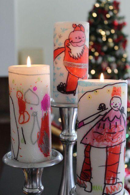velas decoradas con los dibujos de los nios