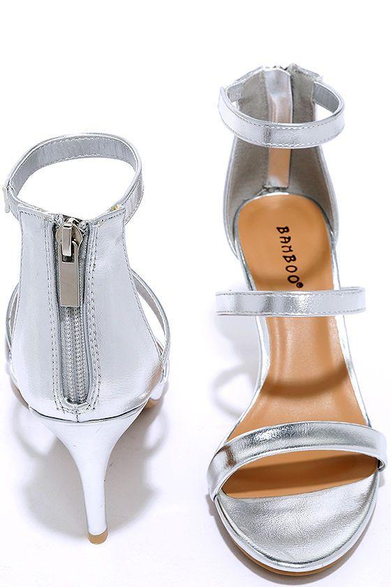 Three-for-All Silver Kitten Heels at Lulus.com!