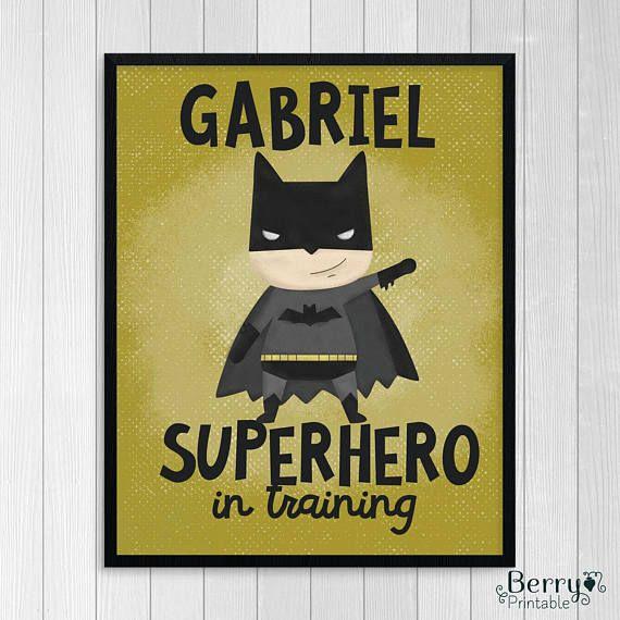 Batman// Kids room decor // Superhero Print // Personalized
