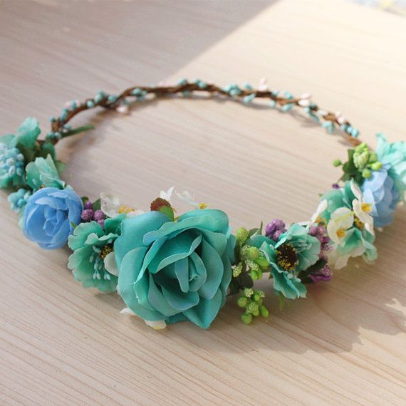 Turquoise Flower Crown Girls Flower Headband Halo Crown Coachella, Music festival, Rave accessory Teal Ivory Purple Blue Flowers Headband