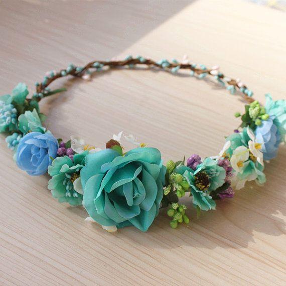 Turquesa flor corona chicas flor diadema Halo por minehandcraft