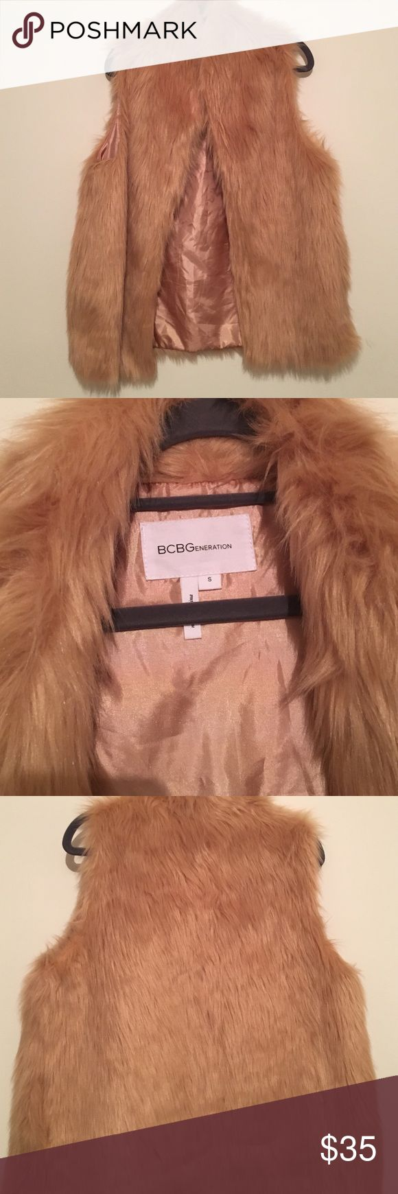 Faux fur vest BCBG Light pink faux fur vest BCBGeneration Jackets & Coats Vests