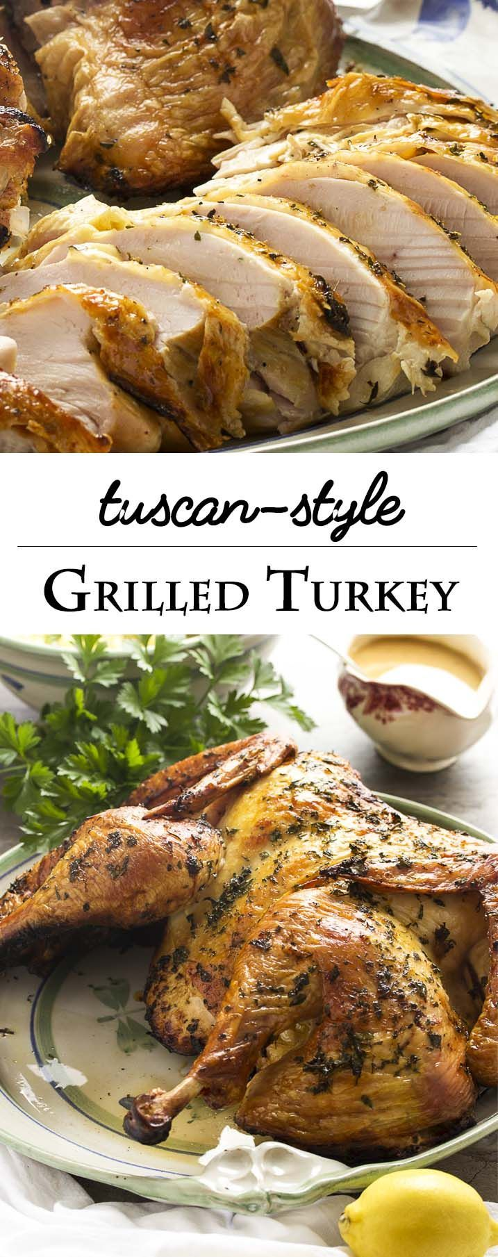 Grill your turkey this year! Tuscan grilled turkey is rubbed with rosemary and citrus zest, then grilled to golden brown on the outside and juicy on the inside. | http://justalittlebitofbacon.com