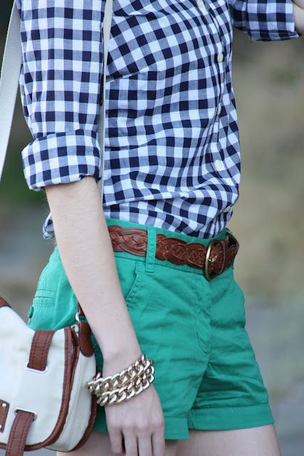 J.Crew style.  Navy gingham shirt, green shorts.
