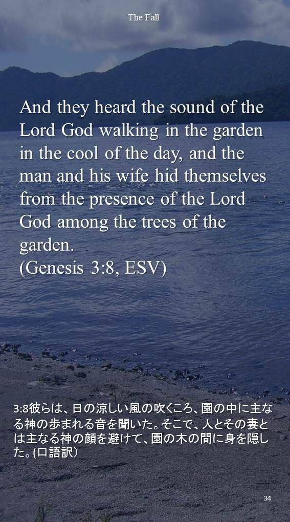 And they heard the sound of the Lord God walking in the garden in the cool of the day, and the man and his wife hid themselvesfrom the presence of the Lord God among the trees of the garden.(Genesis 3:8, ESV)3:8彼らは、日の涼しい風の吹くころ、園の中に主なる神の歩まれる音を聞いた。そこで、人とその妻とは主なる神の顔を避けて、園の木の間に身を隠した。(口語訳)