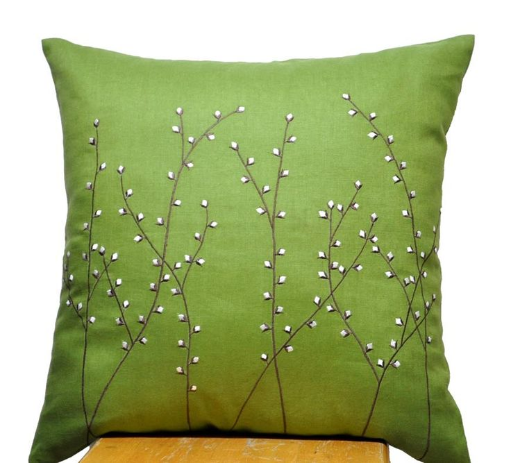 Pussy Willow Pillow Cover, Decorative Throw Pillow Cover, Green Linen Pillow Pussy Willow Embroidery, Pillow Cover 18 x 18, Green Cushion. $23.00, via Etsy.