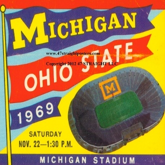 Michigan football ticket drink coasters. Made from authentic Michigan football tickets. Watermark will not appear on actual coasters. http://www.shop.47straightposters.com/Michigan-Football-Ticket-Drink-Coaster-Set-1969-MICH-69.htm