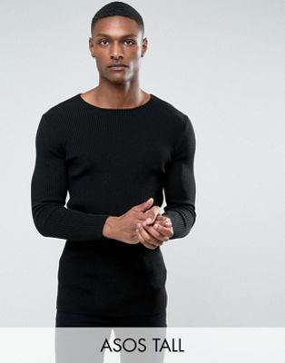 ASOS TALL Longline Muscle Fit Ribbed Jumper In Black
