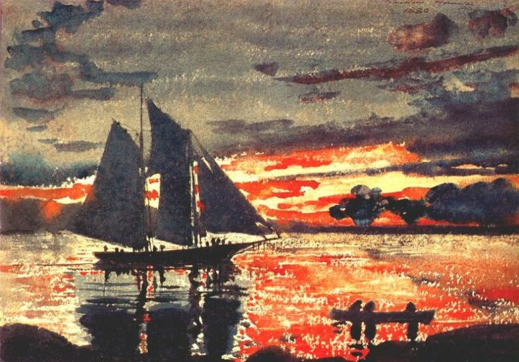 Sunset Fires Artist: Winslow Homer Completion Date: 1880 Style: Realism Genre: marina Technique: watercolor Gallery: Yale University Art Gallery, New Haven, Connecticut, USA