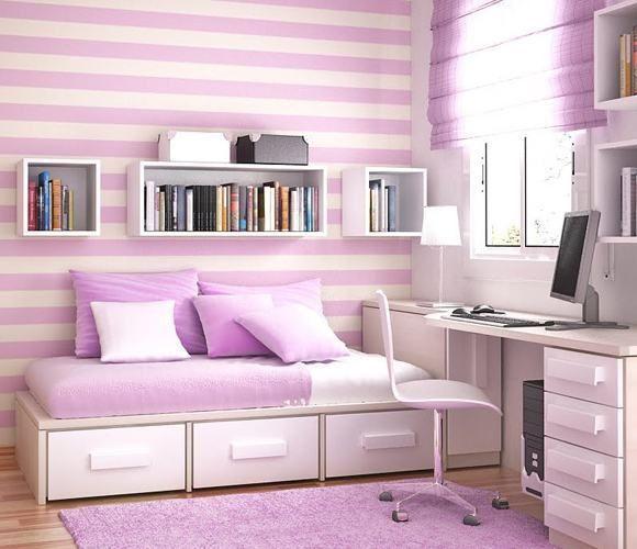 papeis de parede listrado para quarto de meninas
