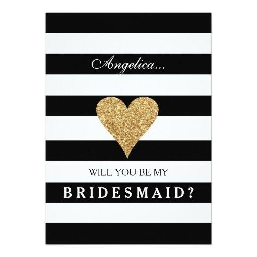 Stripes Will You Be My Bridesmaid Invitation