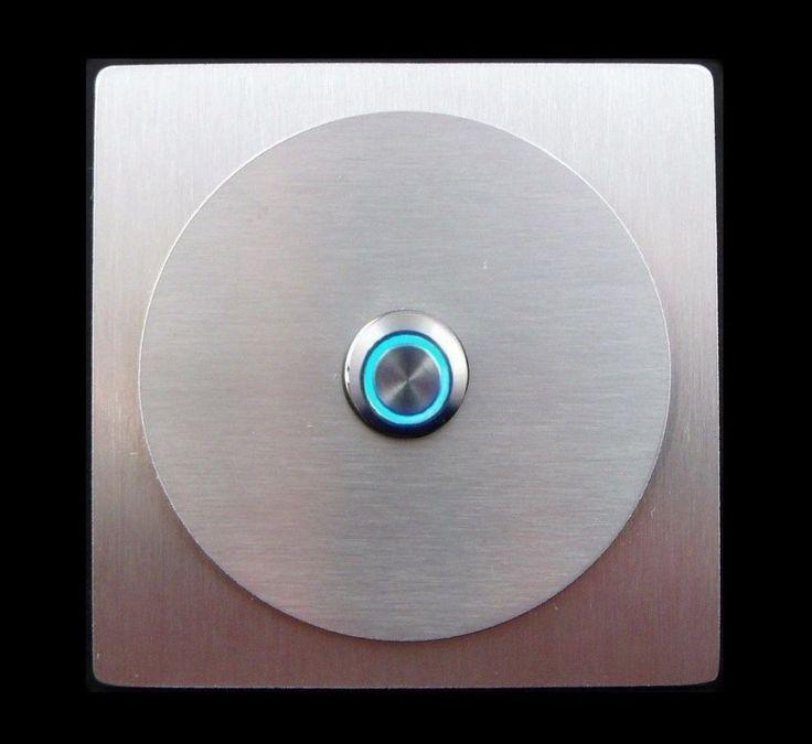 TÜRKLINGEL. Klingelplatte- EDELSTAHL - Knopf LED Blau - Design - Quadrat&Rund