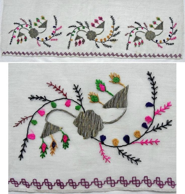 Details of a large embroidered headscarf, Crimean Tatar, from Turkey, 1870-1920. Called 'marama'. Embroidered in multi-coloured cotton and metallic (silver) thread on a cotton (muslin) fabric, 68 x 138 cm. Height of embroidery (from the tip of black twigs to the edge of cloth): 15 cm. Note the border in double running stitch, found in other Crimean Tatar embroidered work. (The Asiye-Zeynep Collection, Washington DC).