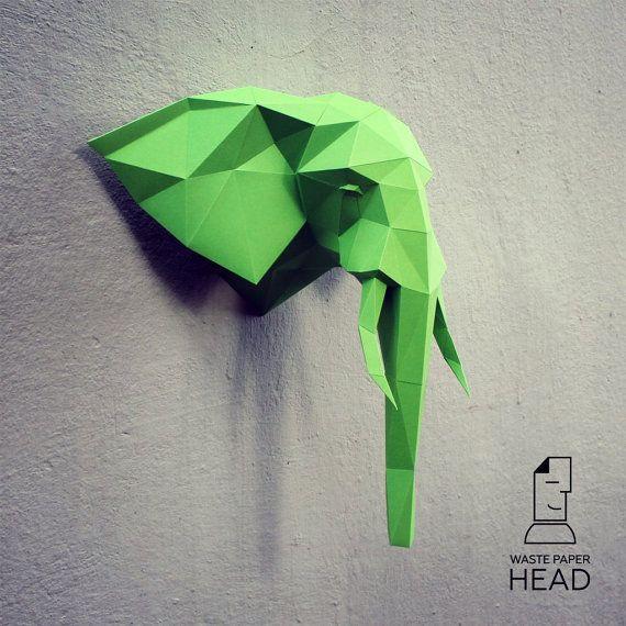 Бумажная голова слона 1 - шаблон для печати