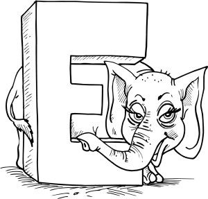 coloring page of letter e with an elephant alphabet coloring pagescoloring worksheetscoloring