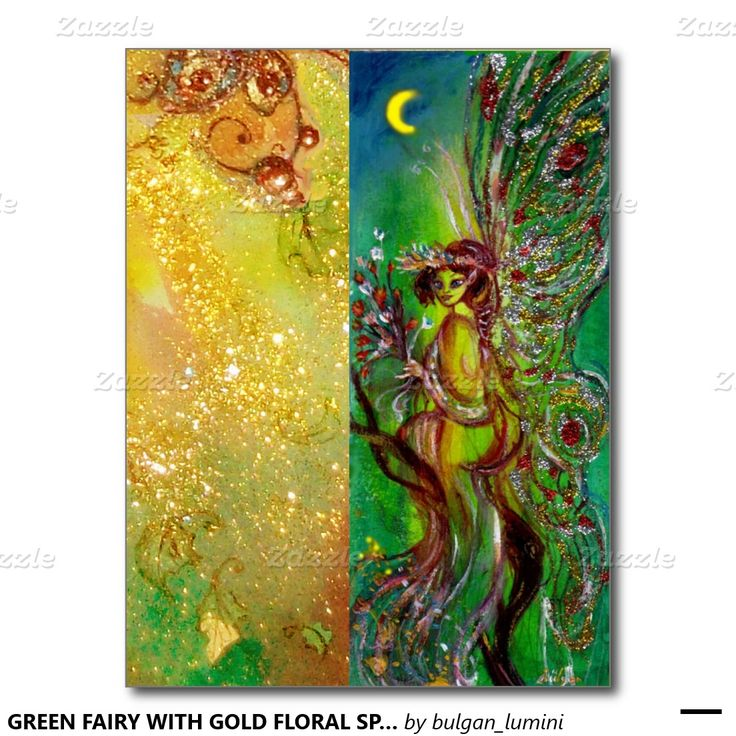 GREEN FAIRY WITH GOLD FLORAL SPARKLES IN MOONLIGHT POSTCARD
