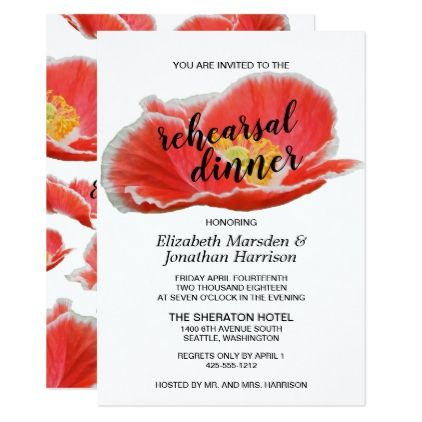 Elegant Chic Red Poppies Floral Rehearsal Dinner Card - chic design idea diy elegant beautiful stylish modern exclusive trendy