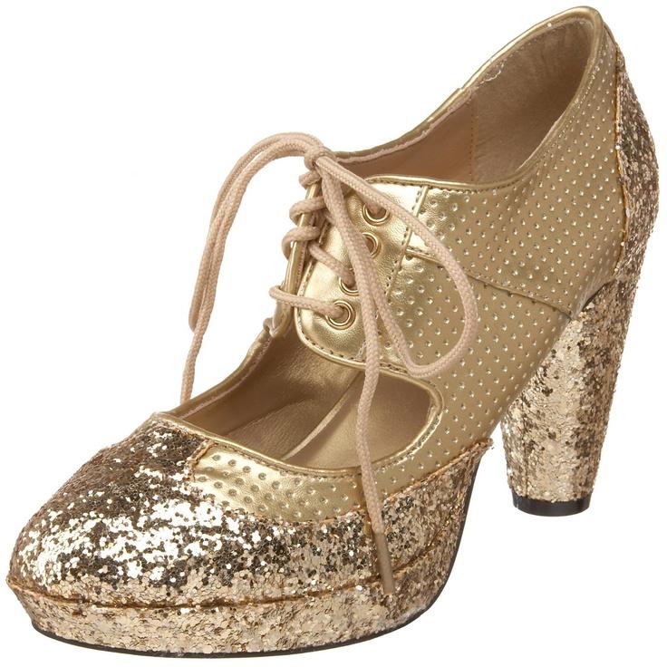 bordello by pleaser s gold glitter lace platform