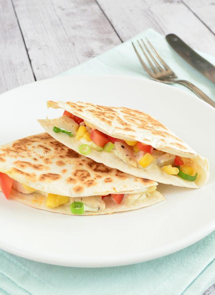 Chicken quesadilla's - Quesadilla's met kip en maïs - Laura's Bakery