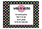 Daily 5 posters with dots | love these! Great reminders after we do the anchor charts with the kiddos!