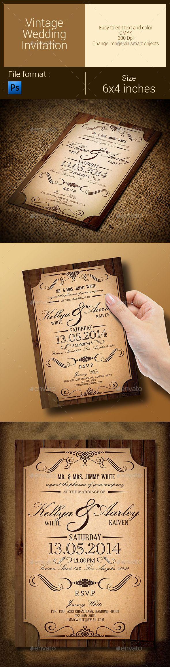 wedding invitation template themeforest%0A Vintage Wedding Invitation Template  Download  http   graphicriver net item