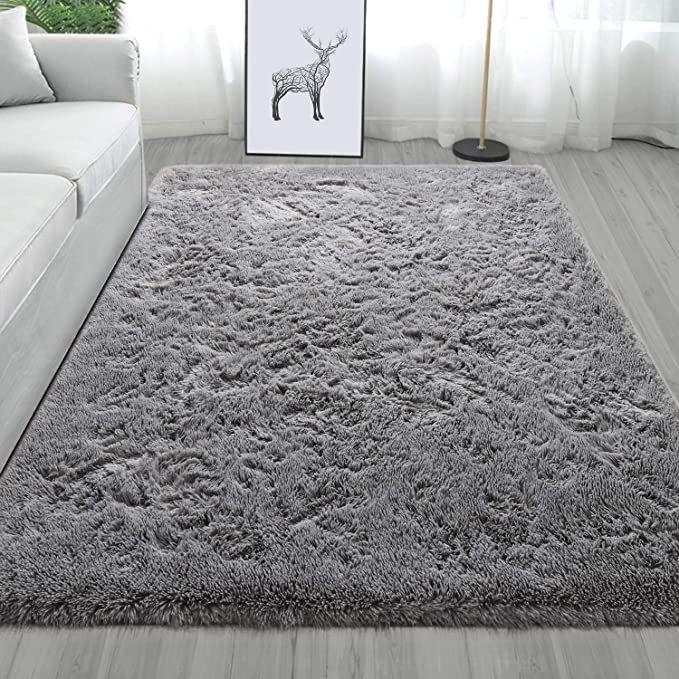 Amazon Com Maxsoft Fluffy Gray Area Rug Modern Shag Rug Pad Fuzzy Carpet For Kids Nursery Soft Plush Rugs For Liv In 2020 Rugs In Living Room Rugs Modern Shag Rugs