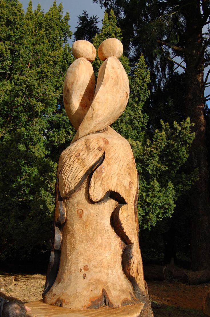 Kettensägenkunst Holzskulpturen Garten Hochzeit Verliebte