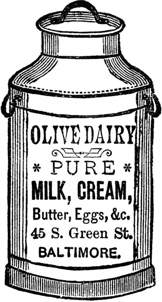 Cute Vintage Milk Can Image! - The Graphics Fairy