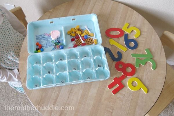 Counting & number recognition activity.  We have those numbers - gonna try it soon!Math, Scavenger, Counting Activities, Cartons Numbers, Recognition, Egg Cartons, Matching Counting, Eggs Cartons, Counting Numbers